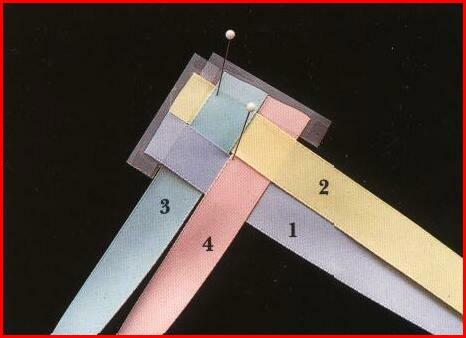 2. сложим ленты под прямым углом вверх. желтую ленту пропускаем под...